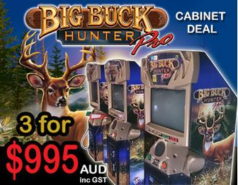 Big Buck Hunter Cabinet Deal - 3 for $995aud inc GST